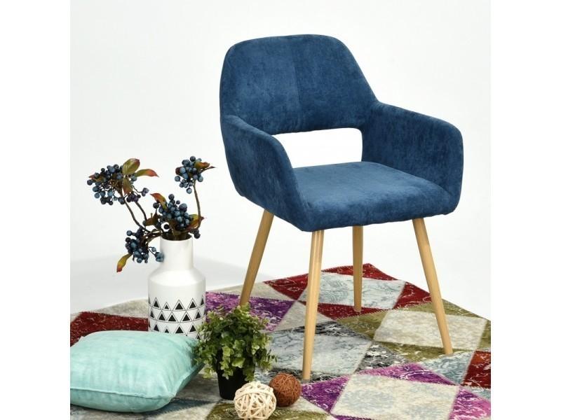 Chaise vintage lola tissu bleu