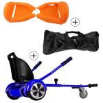Accessoire hoverboard 6,5 pouces :  pack essentiel 3 en 1 : hoverkart bleu +  coque/housse silicone orange +  sac de transport