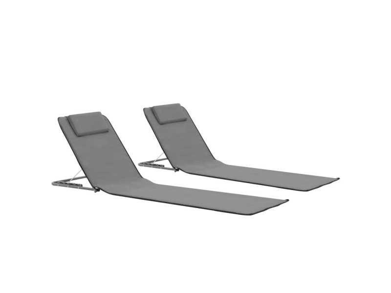 Splendide sièges de jardin famille port-vila tapis de plage pliables 2 pcs acier et tissu gris