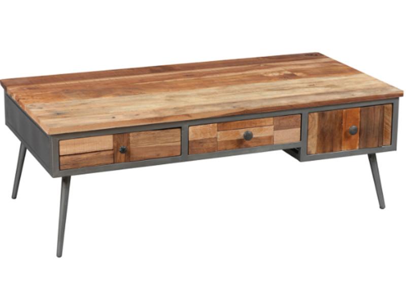 Table basse en acier et palissandre massif - dim : l.115 x p.60 x ht.40 cm -pegane-