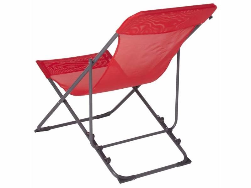 Bo-camp chaise de plage penco rouge 428591
