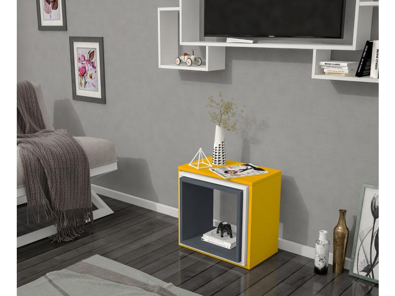 Table basse design 3luzigon jaune et gris anthracite