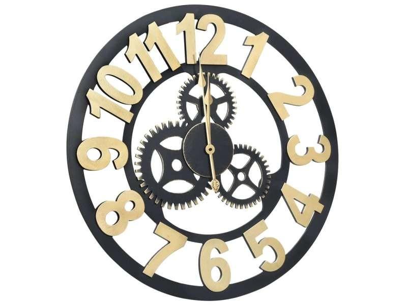 Vidaxl horloge murale doré et noir 60 cm mdf 321467
