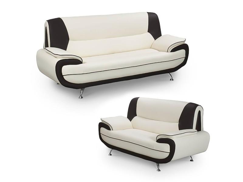 Muza - ensemble canapé design en simili cuir blanc et noir