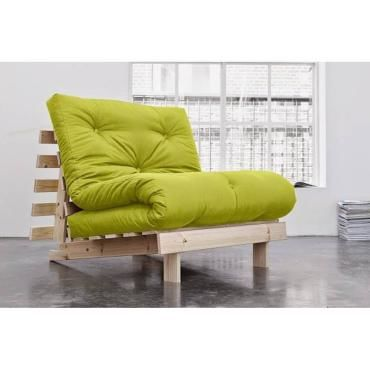 fauteuil bz style scandinave roots natural futon vert pistache couchage 90 200cm 20100852096. Black Bedroom Furniture Sets. Home Design Ideas