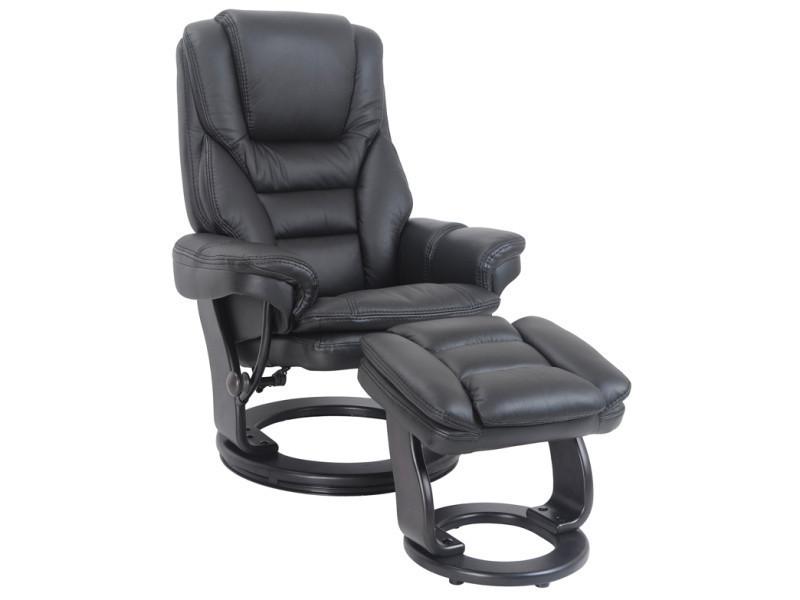 Fauteuil relax versaille + pouf repose pieds cuir noir