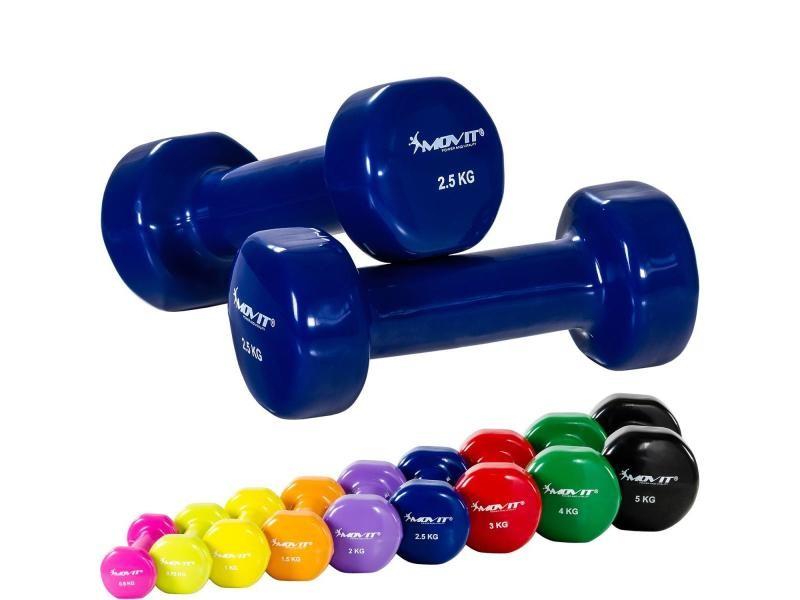 Movit® set de 2 haltères en vinyle de 2x0,5kg à 2x5,0kg - couleur : bleu 2x2,5kg