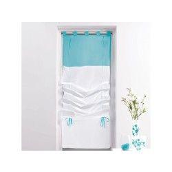 Un store droit à passant - rideau voile bicolore blanc / bleu azur 45 x 180 cm