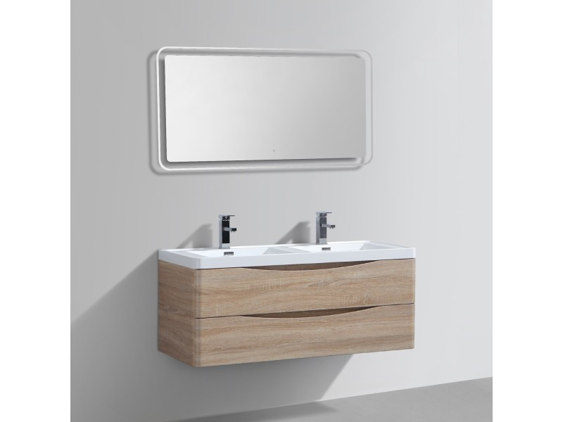 Meuble salle de bains double vasque miroir led smile - Meuble vasque salle de bain conforama ...
