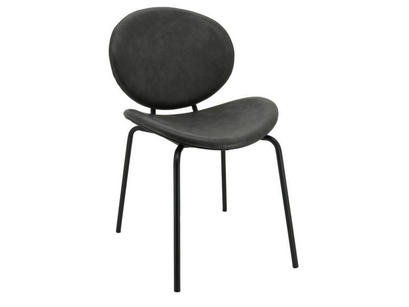 Chaise design en simili cuir et métal gris