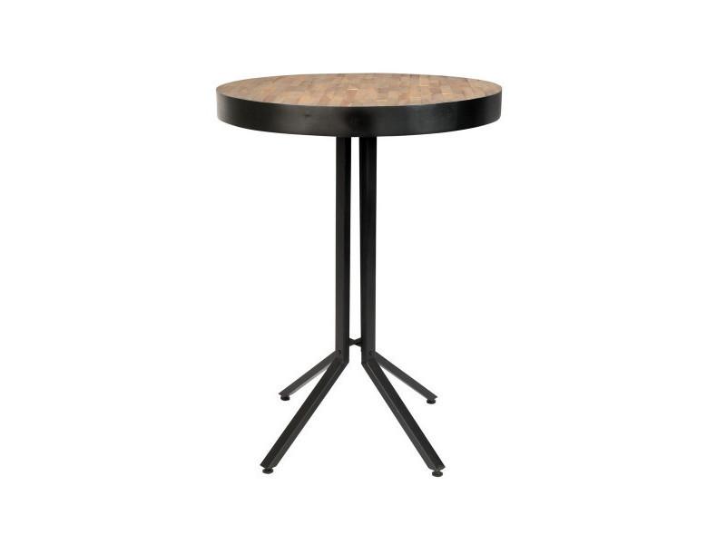 Maze - table haute ronde en bois marron l75