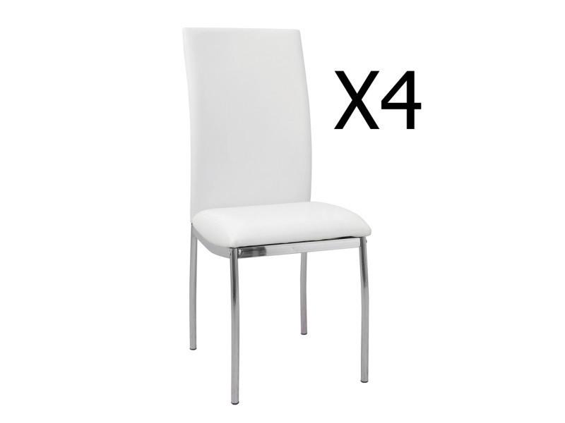 Lot de 4 chaises blanc / chromé - dim : 420 x 480 x950 mm - pegane -