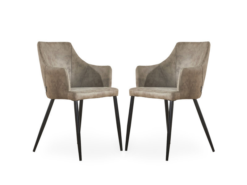 Lot de 2 chaises zarah en simili cuir couleur taupe - rembourrée