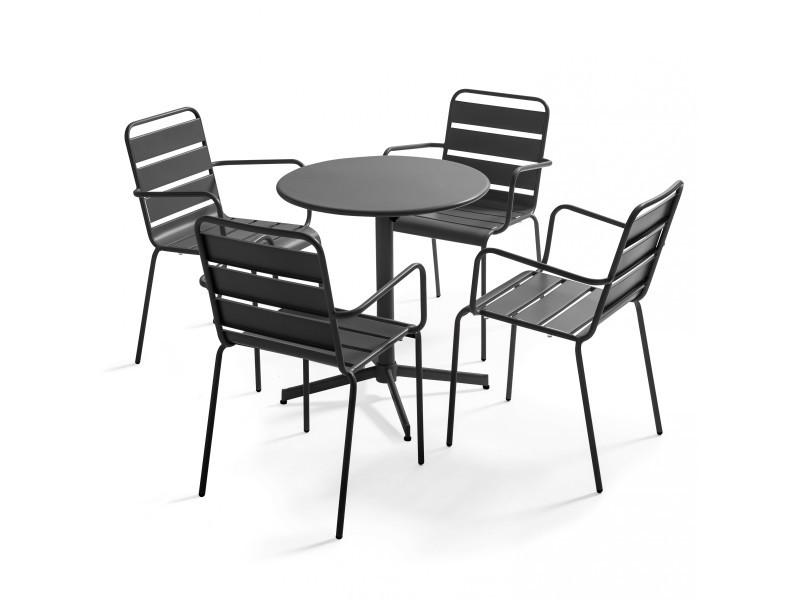 Table de jardin bistrot rabattable ⌀70cm et 4 fauteuils en métal palavas 4 places acier gris