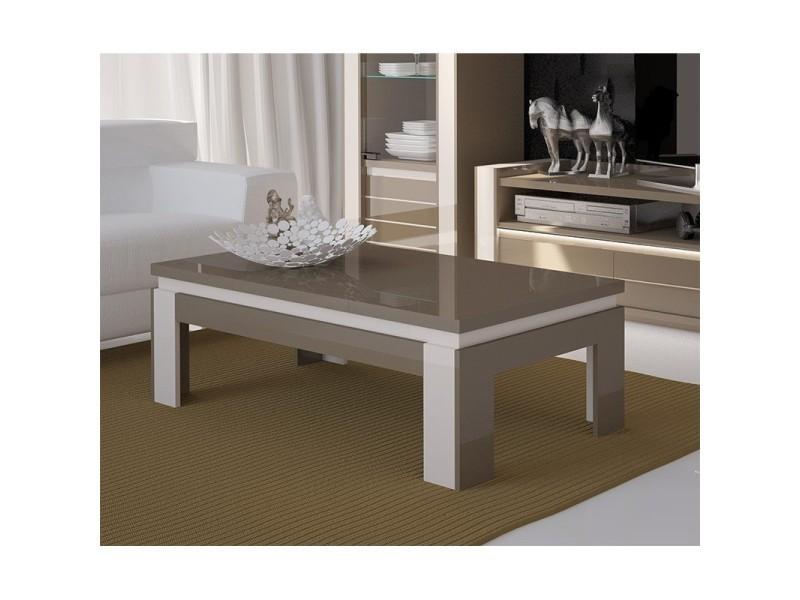 Solde table basse design brillante lina cappuccino et blanc crème