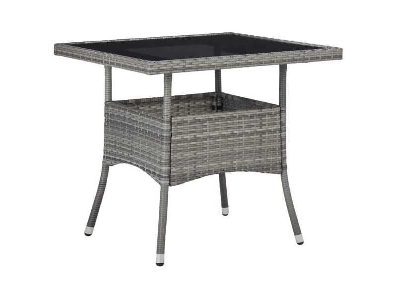 Splendide mobilier de jardin ligne alger table à manger d'extérieur gris résine tressée et verre