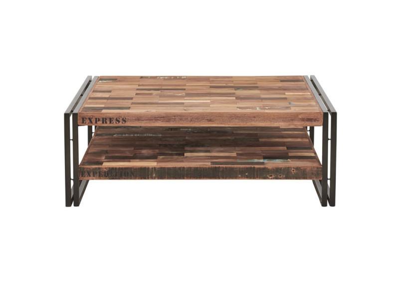 Table basse en bois carrée 100 cm - industry - l 100 x l 100 x h 35 - neuf