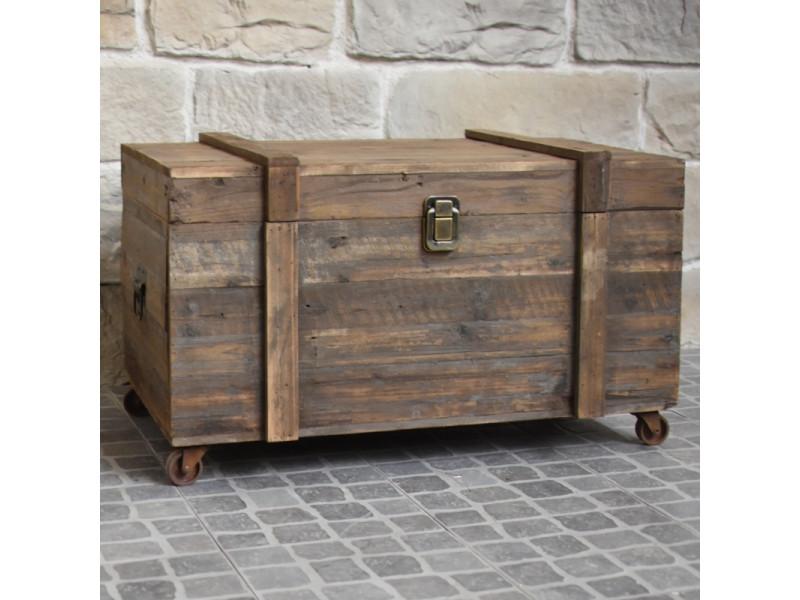 Malle coffre en bois table basse à roulettes rangement bouteilles 90 cm x 56 cm x55 cm