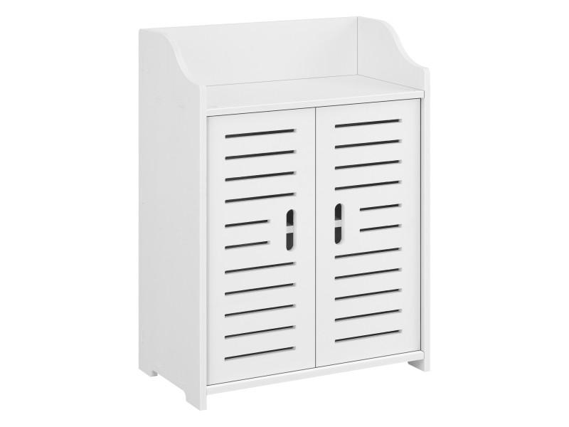 Meuble de salle de bain design avec étagères meuble de rangement à 2 portes bois composite 62 x 45 x 25 cm blanc [en.casa]