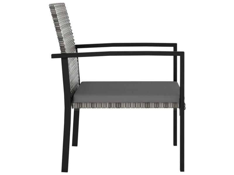 Vidaxl chaises de salle à manger de jardin 2 pcs résine tressée gris 315112