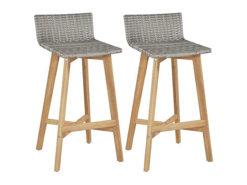 Sublime fauteuils gamme riga chaise de bar 2 pcs résine tressée bois d'acacia 40x45x90 cm