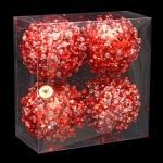 Lot de 4 boules de noël effet goutte -  rouge