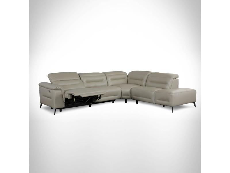Canapé d'angle relax électrique beige orlando - angle droit