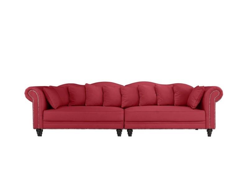 morgane canap double chesterfield xl velours coloris rouge vente de canap droit. Black Bedroom Furniture Sets. Home Design Ideas
