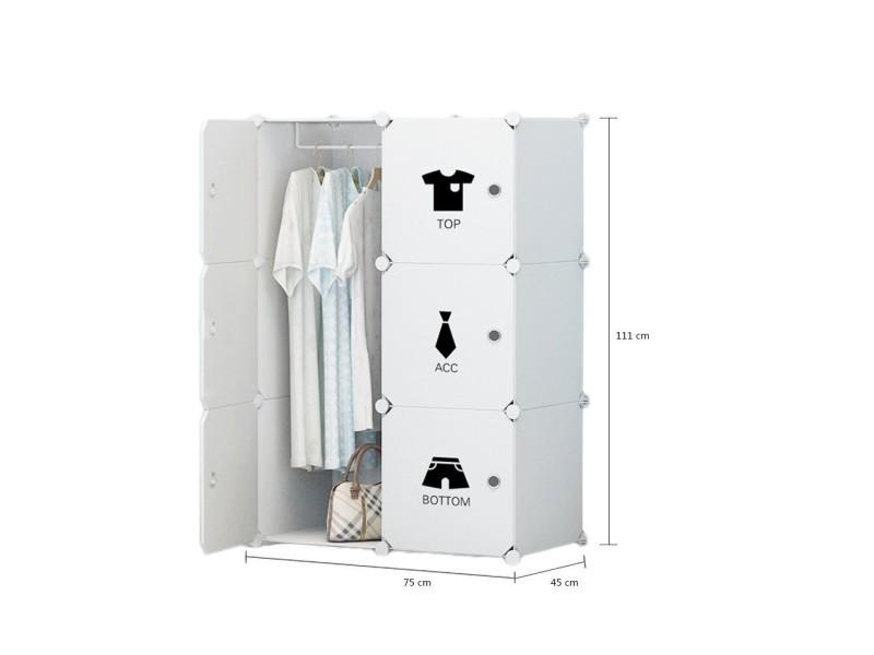 Placard en plastique armoire portable rangement avec sticker (6 cubes avec 2 cintres) - Vente de ...