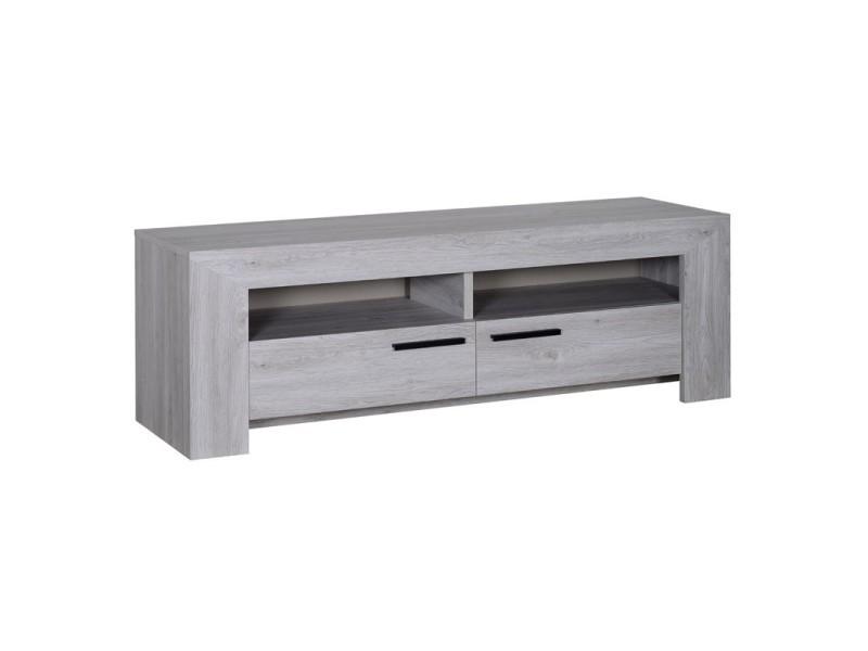 Meuble tv 2 tiroirs gris clair papeete l 150 x l 45 x for Meuble tv gris clair