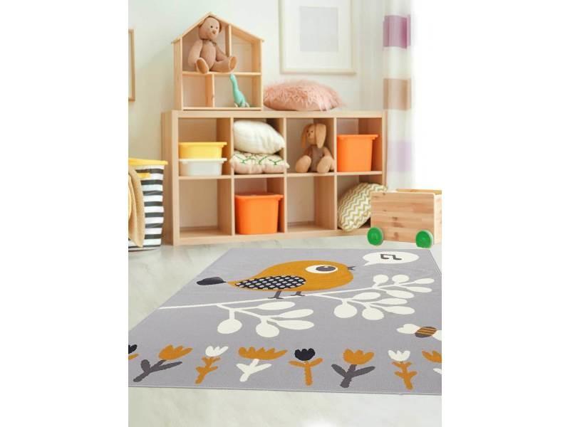 Tapis ludique pour chambre d\'enfant af piaf gris, orange, noir ...