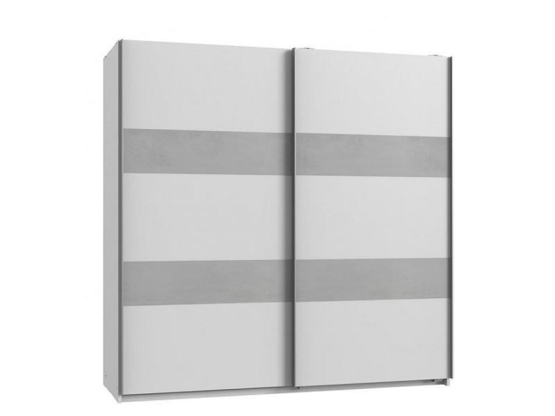 Armoire de rangement aude portes coulissantes 179 cm blanc mat rechampis béton gris clair 20100890994