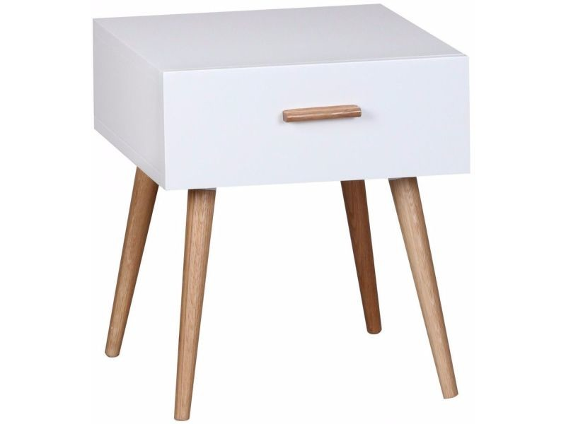 Table De Chevet Design Scandinave 40 Cm à Tiroir Avec