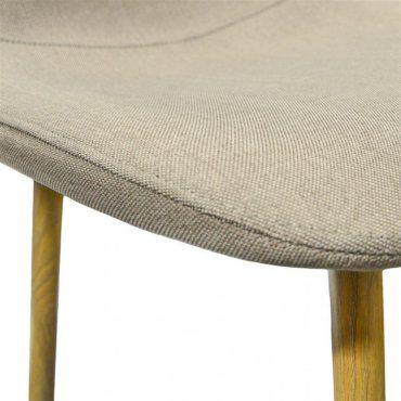 Klary lot de 4 chaises scandinaves bicolores textile taupe pieds métal effet bois V31130504