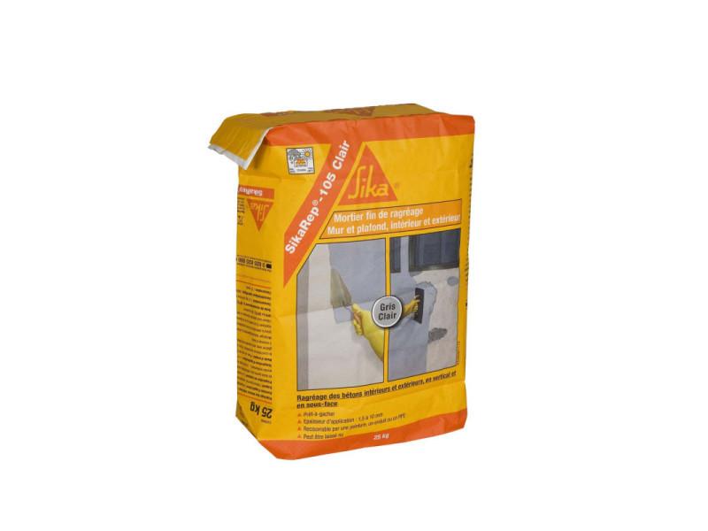 Mortier fin pour ragréages sika sikarep 105 clair - gris clair - 25 kg 435913