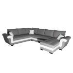 Canapé rodos panoramique reversible convertible avec 2 coffres gris blanc