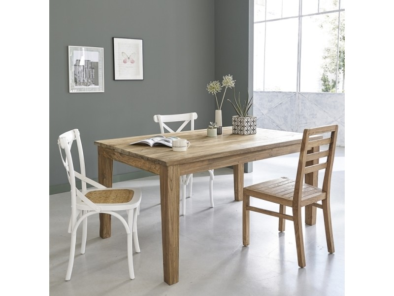 Table manger en bois de teck recycl avec rallonges 8 for Table 10 couverts
