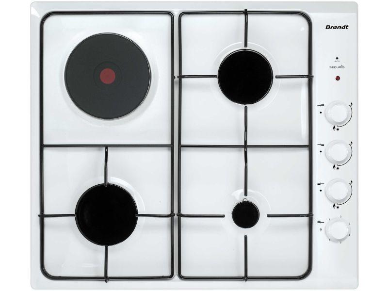 Table de cuisson mixte gaz et électrique 58cm 4 feux blanc - bpe6411wm 3637