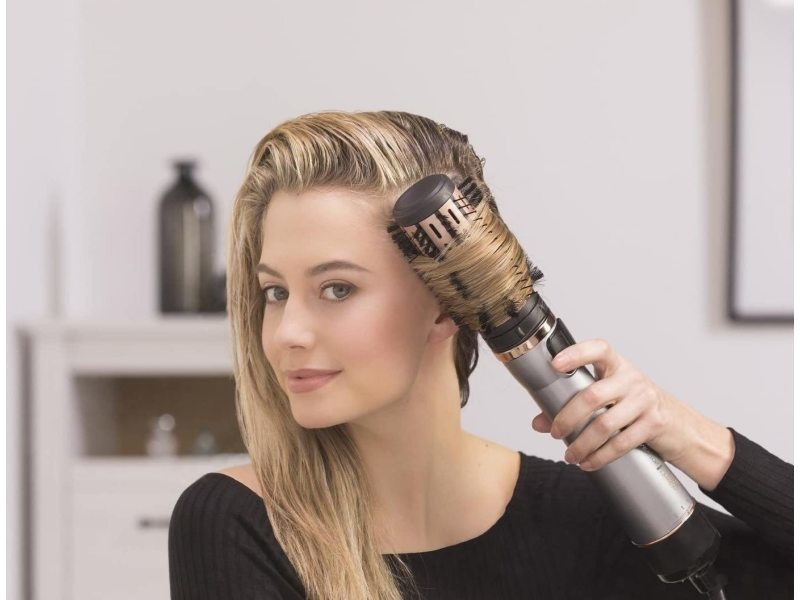 Brosse cheveux keratin protect rotative soufflante chauffante beige noir
