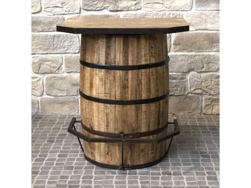 Bar tonneau fut repose pied industriel campagne en bois ...