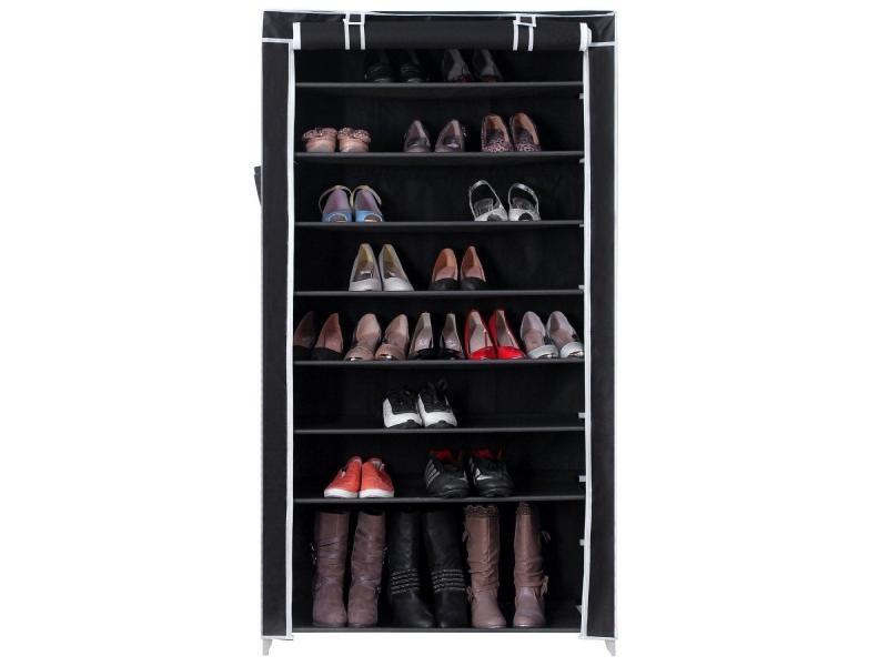 armoires penderie tissu meuble de rangement chaussure noir 160 cm helloshop26 2012034 vente de. Black Bedroom Furniture Sets. Home Design Ideas