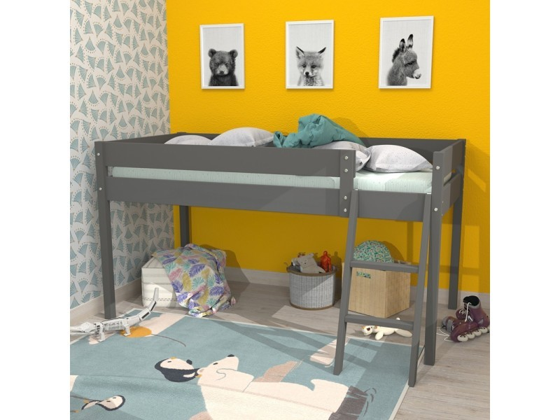 lit mi hauteur laura 90x200 1 sommier gris 390144z vente de lit enfant conforama. Black Bedroom Furniture Sets. Home Design Ideas