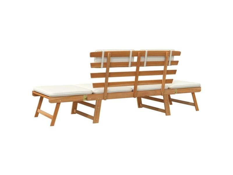 Vidaxl lit de bronzage/ banc de jardin bois d\'acacia massif 190 x 66 ...