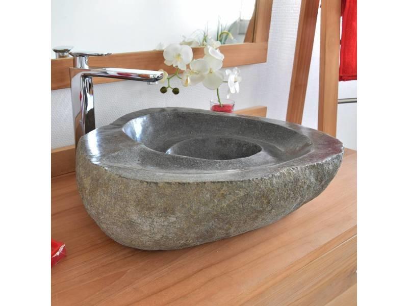 vasque a poser pierre de riviere Vasque à poser en pierre de rivière tourbillo 40