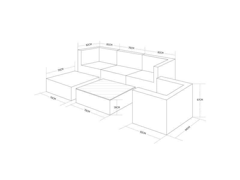 Salon de jardin caligari 5 places en résine tressée, nuances de gris ...