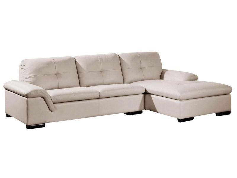 Canapé cuir angle denver - droit - blanc