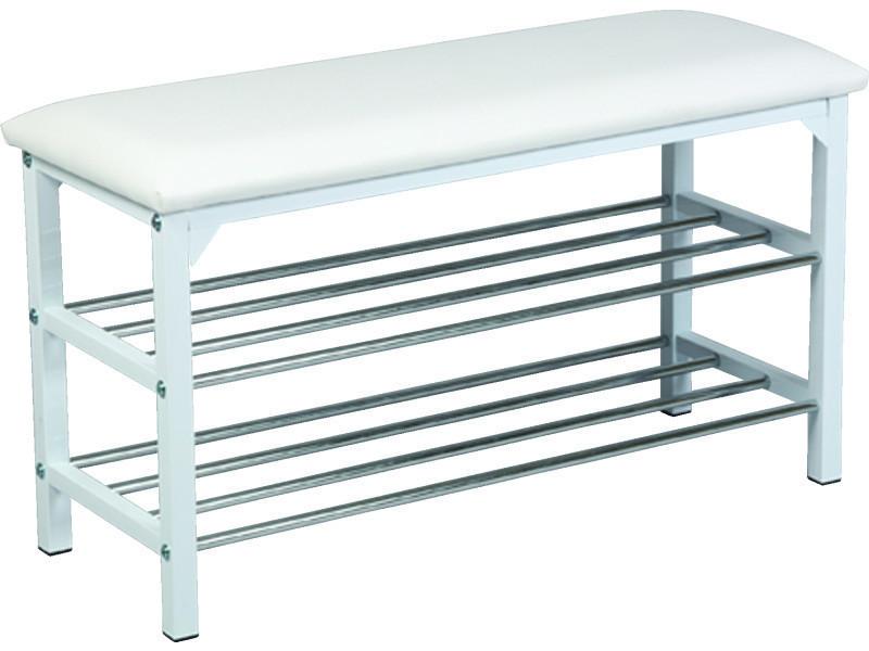 Banc en acier et polypropylène, coloris blanc - dim : l 79 x l 30 x ht 45 cm - pegane -