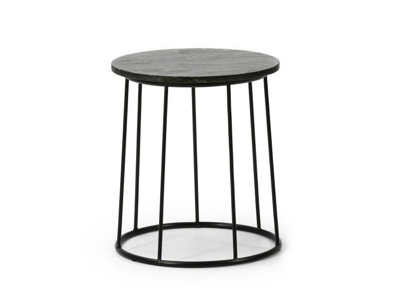 Vs venta-stock table auxiliaire table basse ronde colombo avec plateau en marbre noir massif et pieds métalliques en couleur noir mat/diamètre: 35 cm