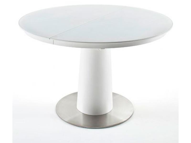 Table à manger extensible ronde laqué blanc mat - 120/160 x 76 x 120 cm -pegane-