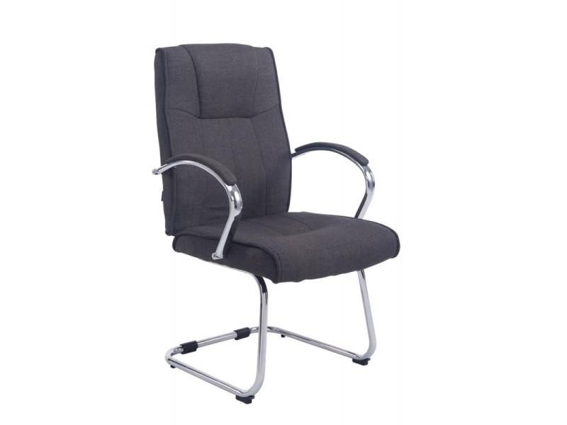 fauteuil de bureau sans roulette en tissu gris foncé bur10119